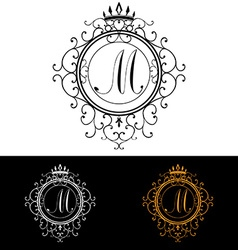 Letter m luxury logo template flourishes vector