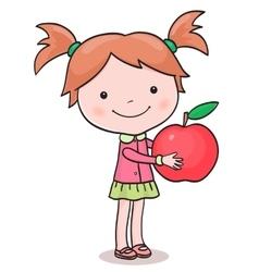 Little girl picking up apples vector