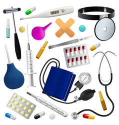 Medical instruments and preparations set medicine vector