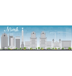 Minsk skyline with grey buildings and blue sky vector