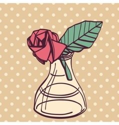 Origami paper vintage style rose handmade drawing vector image vector image