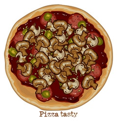 Pizza with mushrooms vector