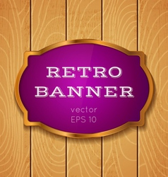 Purple banner on wooden background vector