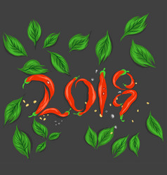 Red chilli happy new year 2018 vector