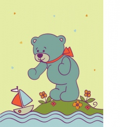 romantic background with teddy bear vector image