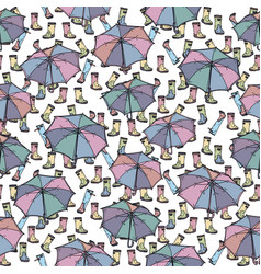 seamless pattern with umbrella and rubber boots vector image vector image