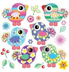 set of decorative birds vector image