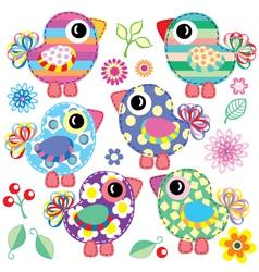 set of decorative birds vector image vector image