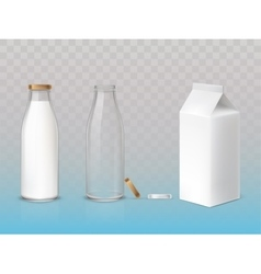 Set of icons box bottles empty and with a milk vector image