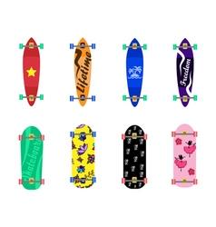 Set of skateboards on white background vector image