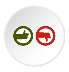 signs hand up and down icon circle vector image