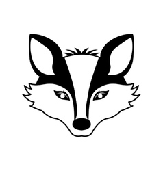 Silhouette contour monochrome with fox face vector