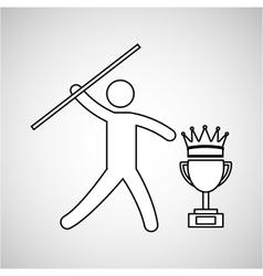 Silhouette person javelin winner sport vector