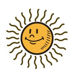 Smiling sun cartoon character weather sign vector