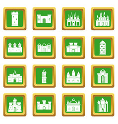 Towers and castles icons set green vector