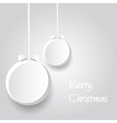 two white paper christmas decoration baubles vector image vector image