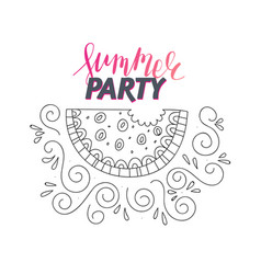 watermelon line art doodle vector image vector image