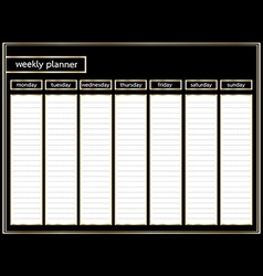 weekly planner black and gold horizontal vector image
