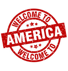 Welcome to america red stamp vector