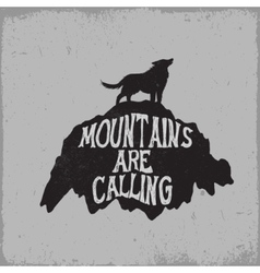 Wolf howling on mountain vector