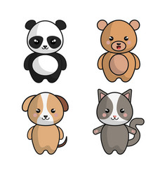 Cute animals kawaii style vector