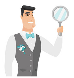 Young caucasian groom holding hand mirror vector