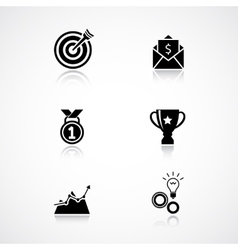Goal achievement icons set vector