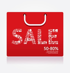 Sale discount shopping bag styled vector