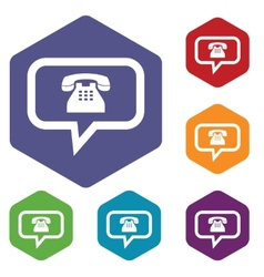 Telephone conversation rhombus icons vector