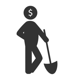 Business finance icon with shovel isolated on vector
