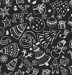 Seamless pattern of hand drawn sketchy christmas vector