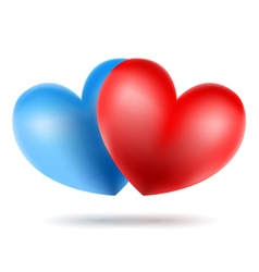 Blue and red heart vector