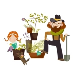 Father and daughter planting in the garden vector