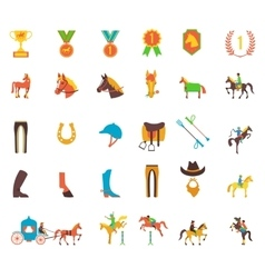 Horse icons set vector