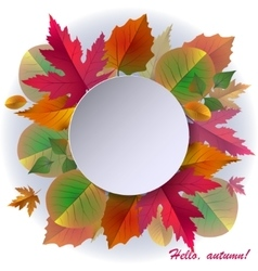 Autumn background with frame and leaves vector image