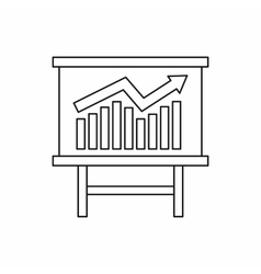 Growing chart presentation icon outline style vector