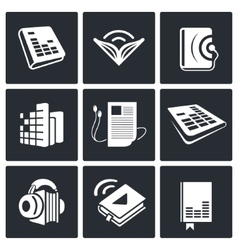 Audio book icons set vector image vector image