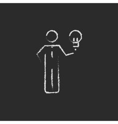 Business idea icon drawn in chalk vector image