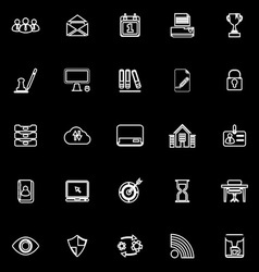 Business management line icons on black background vector image vector image