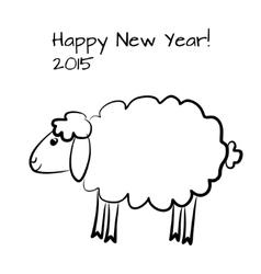 Christmas sheep outline vector image