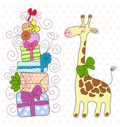 Cute giraffe with a lot of gifts vector