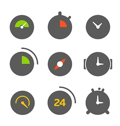 Different clocks color collection vector image