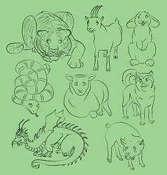 Dog dragon goat pig rabbit sheep snake tiger vector