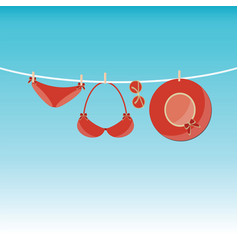 fashion red swimsuit bikini vector image