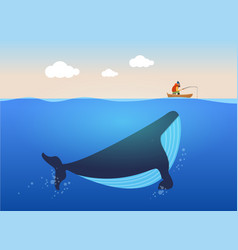 Fisherman and huge whale vector