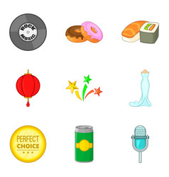food for party icons set cartoon style vector image vector image