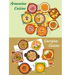 Georgian and armenian cuisine dinner dishes icon vector