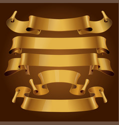 gold glossy ribbons vector image vector image