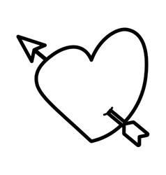 Heart love arrow cute outline vector
