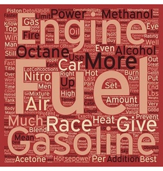 Hot fuels for fast cars text background wordcloud vector